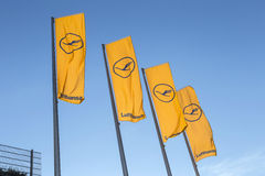 Flags with Lufthansa logotype Royalty Free Stock Photos