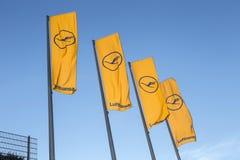 Flags with Lufthansa logotype Royalty Free Stock Photos