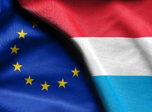 Flags of luxembourg and european union. Fabric Flags of luxembourg and european union Stock Photography