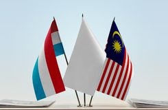 Flags of Luxembourg and Malaysia Stock Images