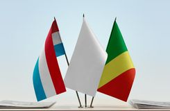 Flags of Luxembourg and Republic of the Congo Royalty Free Stock Photography