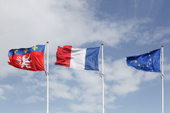Flags of Lyon, France and Europe in the city of Lyon Royalty Free Stock Photo