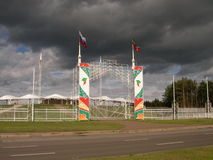 Flags on the Maidan. Entrance on the Maidan area for celebration of Sabantuy day of a plow - decorated with a national ornament and flags Stock Image