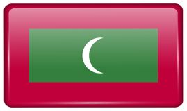 Flags Maldives in the form of a magnet on refrigerator with reflections light. Flags of Maldives in the form of a magnet on refrigerator with reflections light Royalty Free Stock Photography