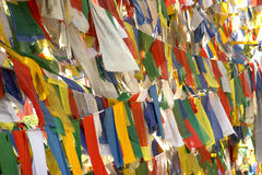 Flags with mantras Stock Photography