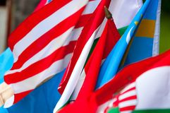 Flags of many nations Stock Photo