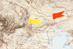 Flags on a map Royalty Free Stock Photography