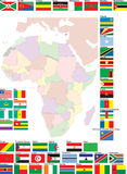 Flags and map of Africa Royalty Free Stock Photo