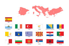 Flags and map of southern Europe Royalty Free Stock Image