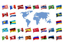 Flags with a map of the worl Stock Photography