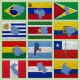 Flags and maps of South America countries Stock Photos