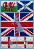 Flags and maps of United Kingdom countries. On a sackcloth Stock Photos