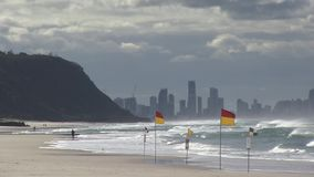 Flags mark where Surf Life Guards protect swimmers, Palm Beach, Gold Coast, Australia. Palm beach is situated between Currumbin headland to the south, and stock footage