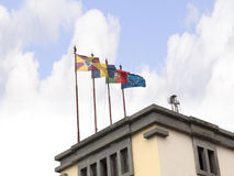Flags on Market Hall in Funchal on the Island of Madiera Royalty Free Stock Photo