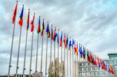 Flags of the member states of the Council of Europe in Strasbourg, France. Flags of the member states at the headquarters of the Council of Europe in Strasbourg Stock Image