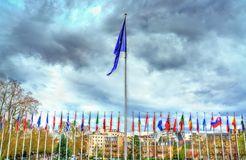Flags of the member states of the Council of Europe in Strasbourg, France. Flags of the member states at the headquarters of the Council of Europe in Strasbourg Stock Images