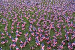 Flags memorial 3. Hundreds of tiny flags in a September-11 memorial Stock Photos