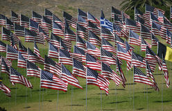 Flags - memorial display. Various US and other national flags on display at 9/11 memorial Royalty Free Stock Photo