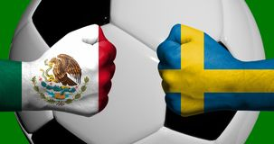 Flags of Mexico and Sweden painted on two clenched fists facing each other with closeup 3d soccer ball in the background/Football vector illustration