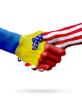 Flags Moldova and United States countries, overprinted handshake. Stock Image