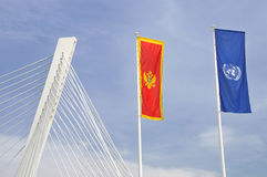 Flags of Montenegro and UN Stock Images