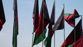 Flags moving in a windy day. A steady, close up of Afghanistan flags dancing through the wind of the day stock footage