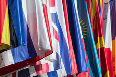 Flags Multicolored. International Flags Multicolored at Conference Stock Photography