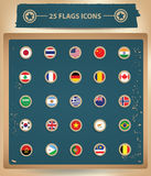 25 Flags National icons.  Royalty Free Stock Photos