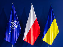 Flags of NATO, Poland and Ukraine at the NATO summit Royalty Free Stock Image