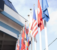 Flags near international business center Royalty Free Stock Image