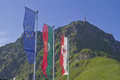 Flags near Kitzbuehel Stock Photo