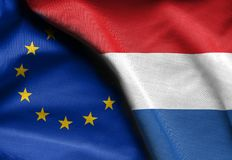 Flags of netherlands and european union. Fabric Flags of netherlands and european union Stock Photo