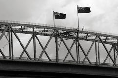 Flags of New Zealand on Auckland Harbor Bridge Stock Images