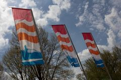Flags at the Nijmegen road at the John Frost Bridge in Arnhem, Netherlands Stock Image