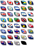 Flags of North America 2. 38 flags icons (buttons) of North America 600x504 pixels stock illustration