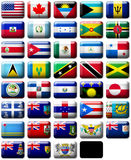 Flags of North America. 38 flags icons (buttons) of North America 599x457 pixels stock illustration
