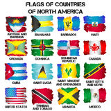 Flags of North America countries Stock Photo