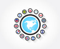 Flags from North America. Set of north american flags in circle icon with the shape of north america Royalty Free Stock Images