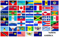 Flags of North American countries in alphabetical order Stock Photo
