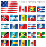 Flags North & Central America. A set of flags of South America isolated on a background Royalty Free Stock Image