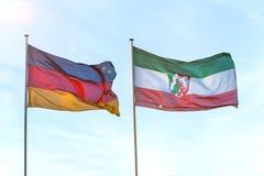 Flags of North Rhine Westphalia and germany. The flags of North Rhine Westphalia and germany stock photos