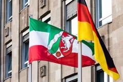 Flags of North Rhine Westphalia and germany. The flags of North Rhine Westphalia and germany stock image