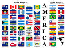 Flags of North and South America Royalty Free Stock Photography