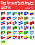 Flags north and south americas countries flat icons vector  Royalty Free Stock Images