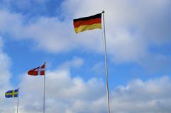 Flags of northern countries Royalty Free Stock Images