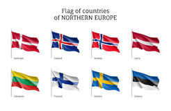Flags of Northern Europe countries. Royalty Free Stock Image