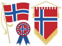 flags norway royaltyfri illustrationer