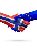 Flags Norway, European Union countries, partnership friendship handshake concept. Royalty Free Stock Photography
