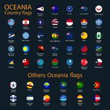 Flags of Oceania, all countries in original colors stock illustration