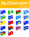 Flags of oceania countries flat icons vector illustration Stock Photography